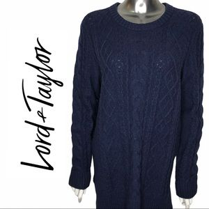 Lord & Taylor Navy Crew Neck Cable Knit Sweater